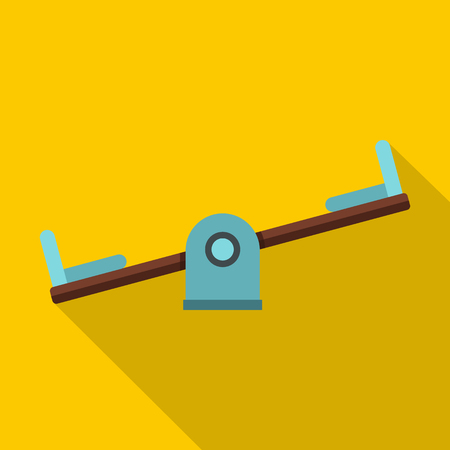see saw: Seesaw on a playground icon. Flat illustration of seesaw on a playground vector icon for web isolated on yellow background