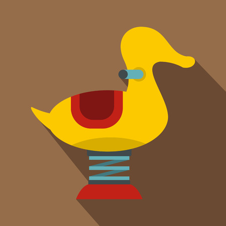 palanca: Yellow duck spring see saw icon. Flat illustration of yellow duck spring see saw vector icon for web isolated on coffee background Vectores