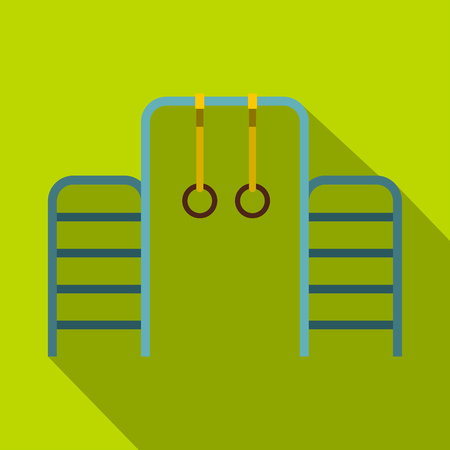 Gymnastics rings and ladder icon. Flat illustration of gymnastics rings and ladder vector icon for web isolated on lime background Illustration