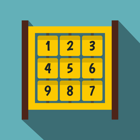numbers icon: Yellow cubes with numbers on playground icon. Flat illustration of yellow cubes with numbers on playground vector icon for web isolated on baby blue background Illustration