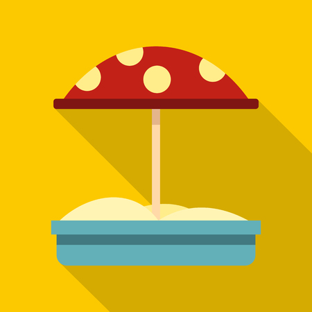 sander: Sandbox with red dotted umbrella icon. Flat illustration of sandbox with red dotted umbrella vector icon for web isolated on yellow background