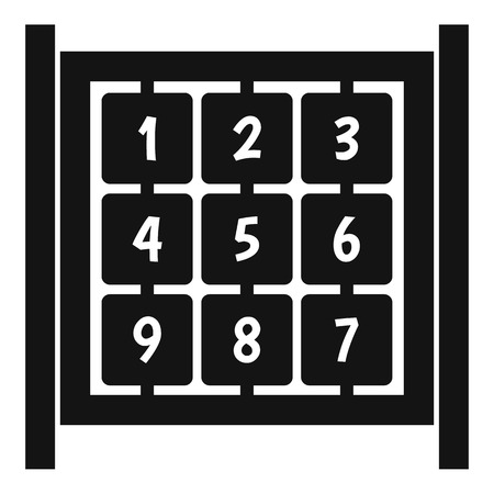 numbers icon: Cubes with numbers on playground icon. Simple illustration of cubes with numbers on playground vector icon for web