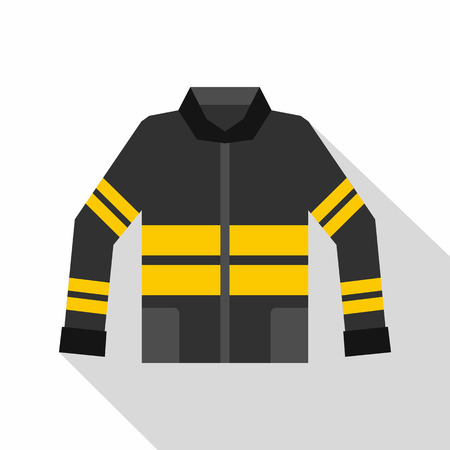 disaster preparedness: Black and yellow firefighter jacket icon. Flat illustration of firefighter jacket vector icon for web isolated on white background Illustration