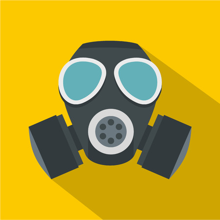 nuclear fear: Army gas mask icon. Flat illustration of army gas mask vector icon for web isolated on yellow background Illustration