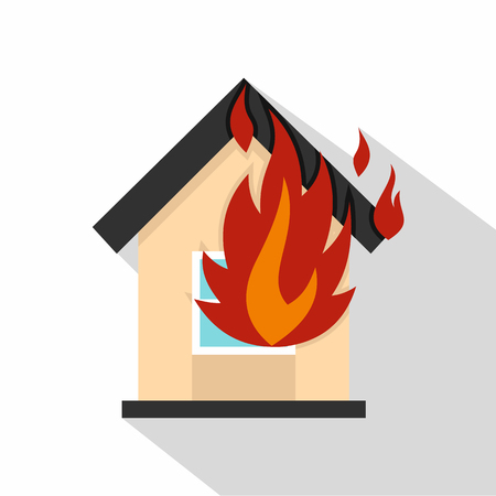ruined house: Flames from house window icon. Flat illustration of flames from house window vector icon for web isolated on white background
