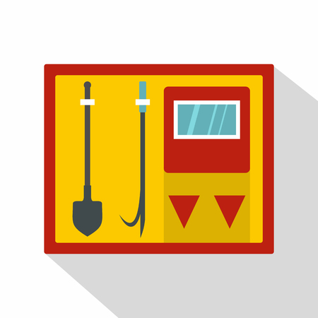 fire extinguishing: Flat illustration of fire shield with fire extinguishing tool vector icon for web isolated on white background