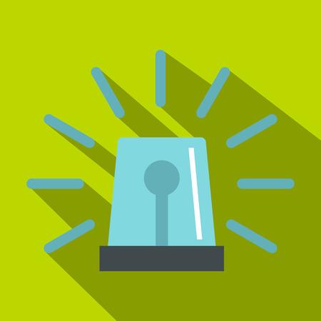 Blue flashing emergency light icon. Flat illustration of flashing emergency light vector icon for web isolated on lime background