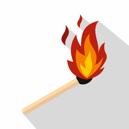 Match with fire icon. Flat illustration of match with fire vector icon for web isolated on white background Illustration