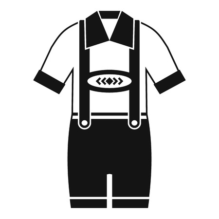 back belt: T-shirt and pants with suspenders icon. Simple illustration of t-shirt and pants with suspenders vector icon for web Illustration