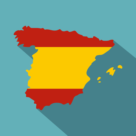 Map of Spain icon. Flat illustration of map of Spain vector icon for web Illustration