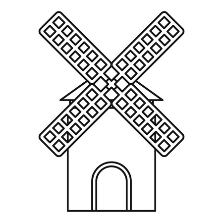 mill: Mill icon. Outline illustration of mill vector icon for web
