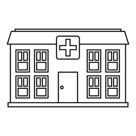 hospitalization: Hospital icon. Outline illustration of hospital vector icon for web