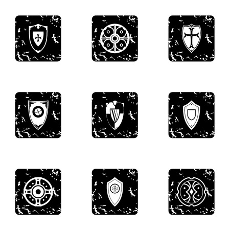 combat: Combat shield icons set. Grunge illustration of 9 combat shield vector icons for web