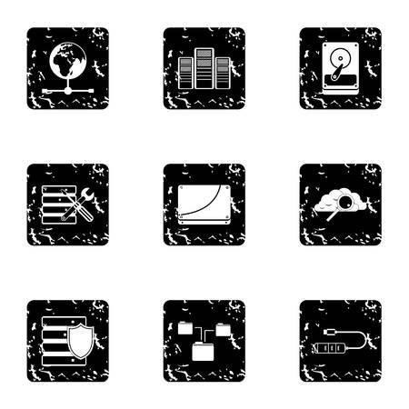 computer repair: Computer repair icons set. Grunge illustration of 9 computer repair vector icons for web