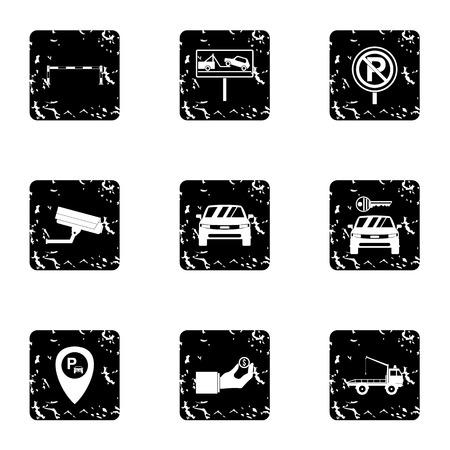 valet: Valet parking icons set. Grunge illustration of 9 valet parking vector icons for web