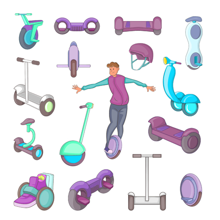 balancing: Self balancing scooter icons set. Cartoon illustration of 16 self balancing scooter vector icons for web