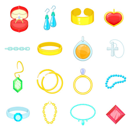 adamant: Jewelry items icons set. Cartoon illustration of 16 jewelry items vector icons for web
