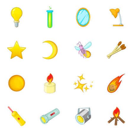 fluorescent tubes: Sources of light icons set. Cartoon illustration of 16 sources of light vector icons for web