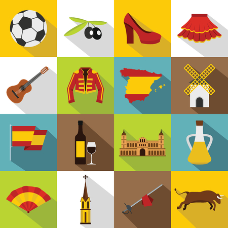 Spain travel icons set. Flat illustration of 16 Spain travel vector icons for web