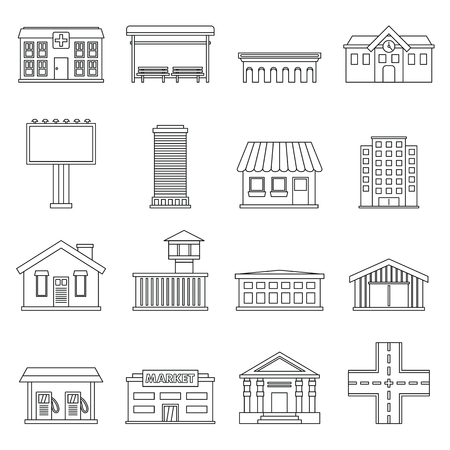 aqueduct: City infrastructure items icons set. Outline illustration of 16 city infrastructure items vector icons for web