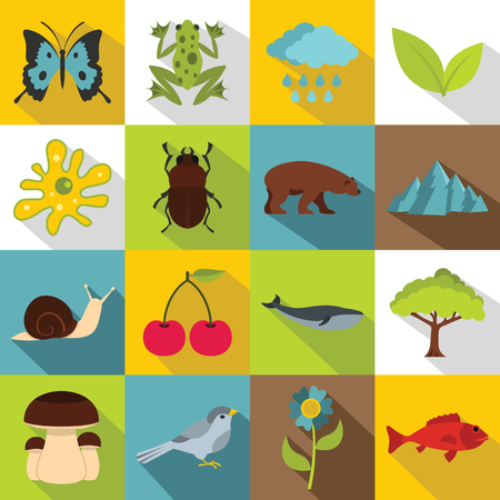blue mountains tree frog: Nature items icons set. Flat illustration of 16 nature items vector icons for web