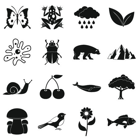 blue mountains tree frog: Nature items icons set. Simple illustration of 16 nature items vector icons for web