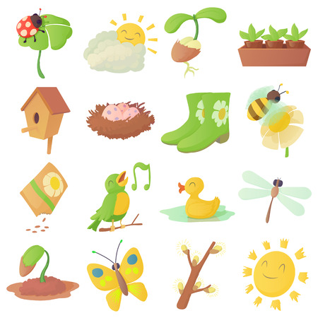 Spring things icons set. Cartoon illustration of 16 spring things vector icons for web Illustration