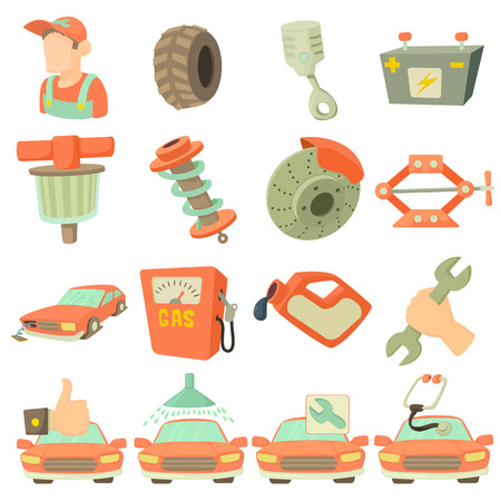 carburettor: Car repair items set. Cartoon illustration of 16 car repair items vector icons for web