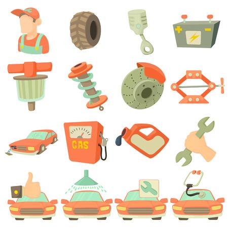 Car repair items set. Cartoon illustration of 16 car repair items vector icons for web