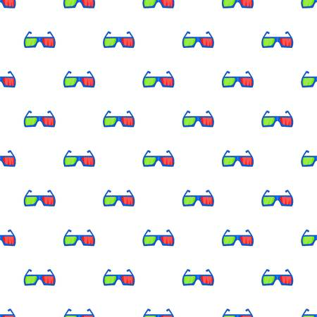 Glasses for 3d movie pattern. Cartoon illustration of glasses for 3d movie vector pattern for web Illustration