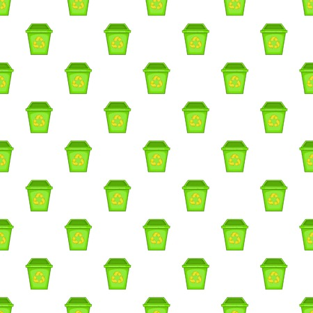Eco dustbin pattern. Cartoon illustration of eco dustbin vector pattern for web