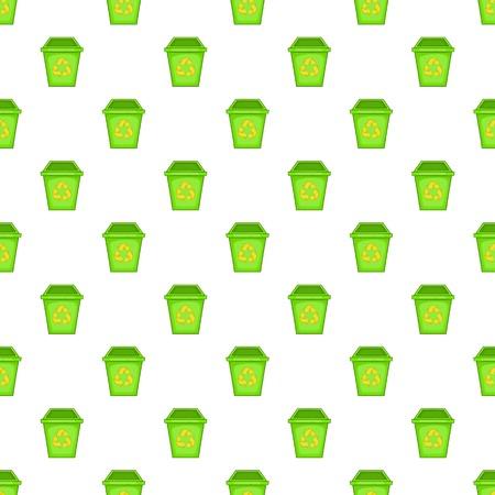 Eco dustbin pattern. Cartoon illustration of eco dustbin vector pattern for web