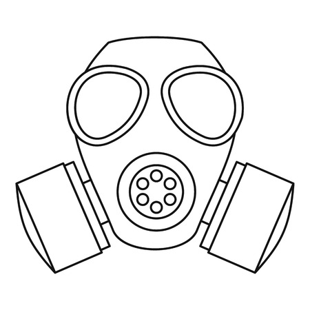 nuclear fear: Gas mask icon. Outline illustration of gas mask vector icon for web