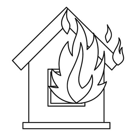 ruined house: House on fire icon. Outline illustration of house on fire vector icon for web