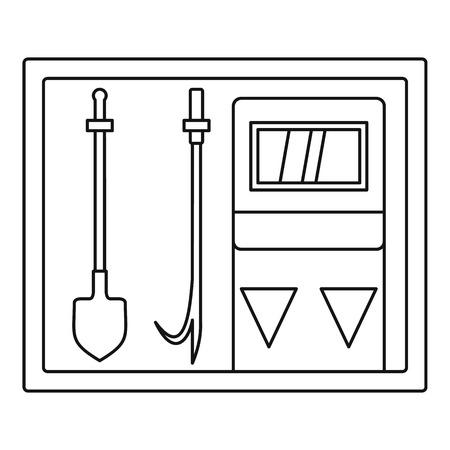 extinguishing: Fire extinguishing equipment icon. Outline illustration of fire extinguishing equipment vector icon for web