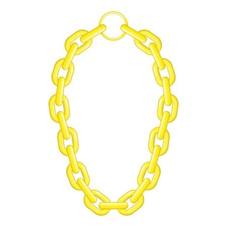 Golden chain necklace icon. Cartoon illustration of golden chain necklace vector icon for web design