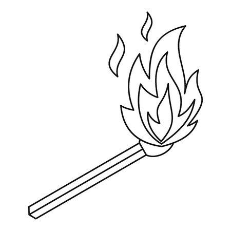 Burning match icon. Outline illustration of burning match vector icon for web