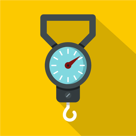 spring balance: Spring scale icon. Flat illustration of spring scale vector icon for web isolated on yellow background