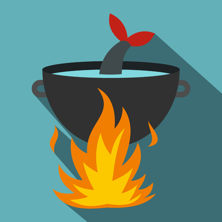 fish fire: Cooking fish soup on a fire icon. Flat illustration of cooking fish soup on a fire vector icon for web isolated on baby blue background Illustration