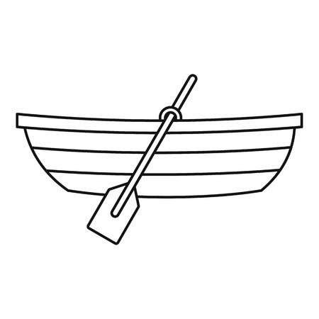 paddles: Boat with paddles icon. Outline illustration of boat with paddles vector icon for web