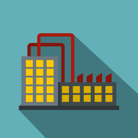 powerhouse: Power plant icon. Flat illustration of power plant vector icon for web isolated on baby blue background