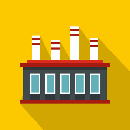 Factory building icon. Flat illustration of factory building vector icon for web isolated on yellow background