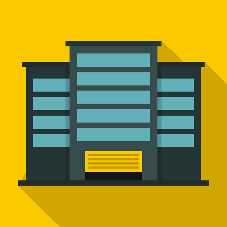 powerhouse: Industrial building icon. Flat illustration of industrial building vector icon for web isolated on yellow background