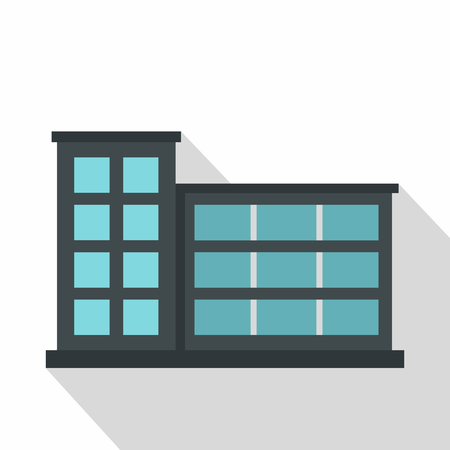 Industrial factory building icon. Flat illustration of industrial factory building vector icon for web isolated on white background Illustration