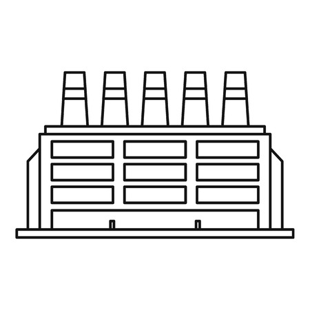 Manufacturing factory building icon. Outline illustration of manufacturing factory building vector icon for web