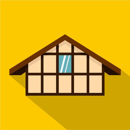 maison allemande icône. illustration plat allemand icône maison vecteur web isolé sur fond jaune Vecteurs