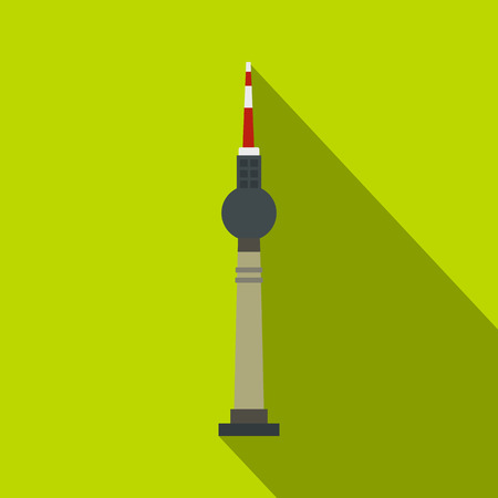 east berlin: TV tower, Berlin icon. Flat illustration of TV tower in Berlin vector icon for web isolated on lime background Illustration