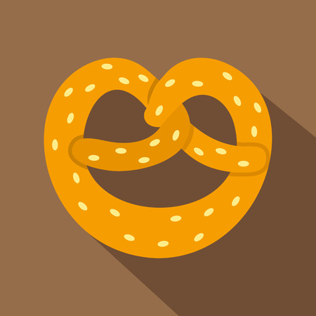 bretzel: Pretzel icon. Flat illustration of pretzel vector icon for web isolated on coffee background