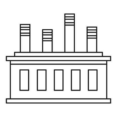 Factory building icon. Outline illustration of factory building vector icon for web