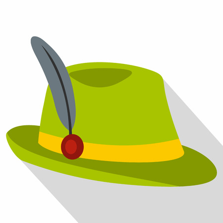 tirol: Green hat with feather icon. Flat illustration of green hat with feather vector icon for web isolated on white background